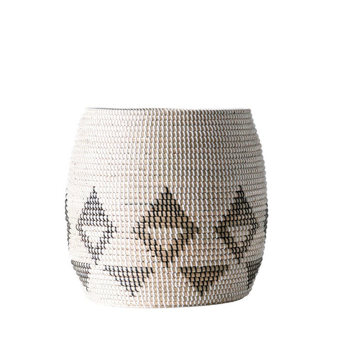 Natural Woven Seagrass Basket, black pattern