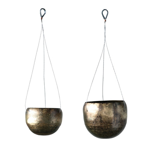 Metal Hanging Planters, Antique Brass finish, set of 2
