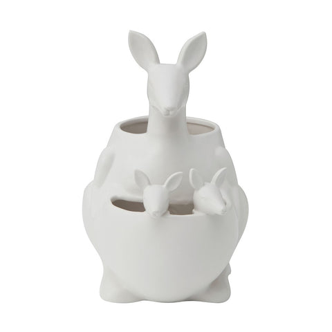 Ceramic Kangaroo w/ Joeys Planter, Matte White