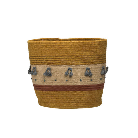 Jute Rope Basket w/ tassels, Mustard color