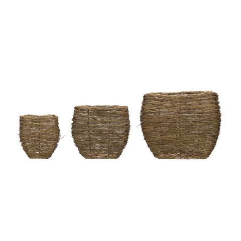 Bamboo Branch Baskets w/ plastic lining, set of 3