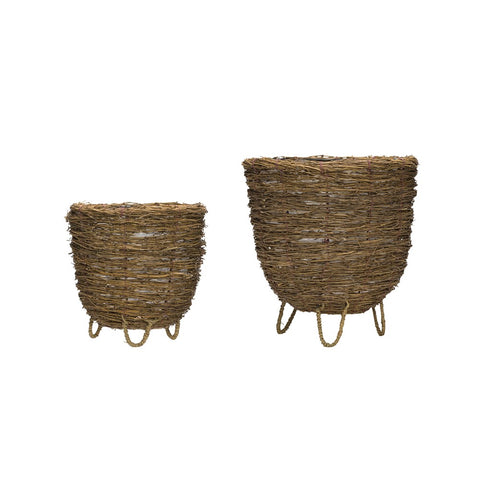Bamboo Branch Baskets w Plastic Lining, set of 2