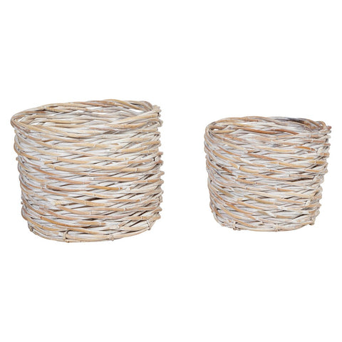 Hand-woven Arurog baskets, whitewash, set of 2
