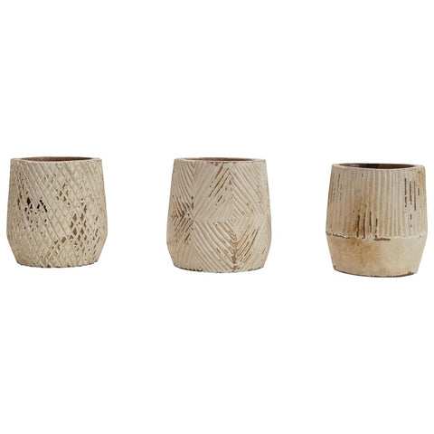 Hand-Carved Mango Wood Planters, Antique white finish, 3 styles