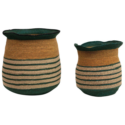 Hand Woven Seagrass striped baskets multi color, set of 2