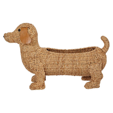 Hand-woven Bankuan Dog basket w/ leather ears