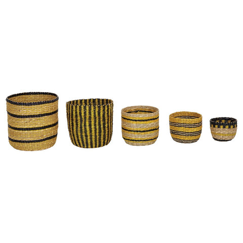 Hand-woven Seagrass Striped Baskets, Black & Yellow, set of 5