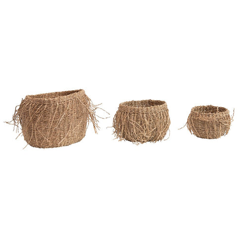 Hand-Woven Seagrass Baskets w/ fringe, set of 3