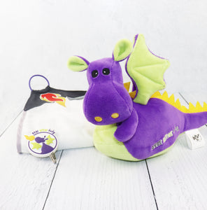 Dragon Squire Travel Toy + Burp Cloth (Purple)