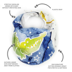 Drooly Bib in Peter Pan Inspired Crocodile - BRIGHT Blue Green
