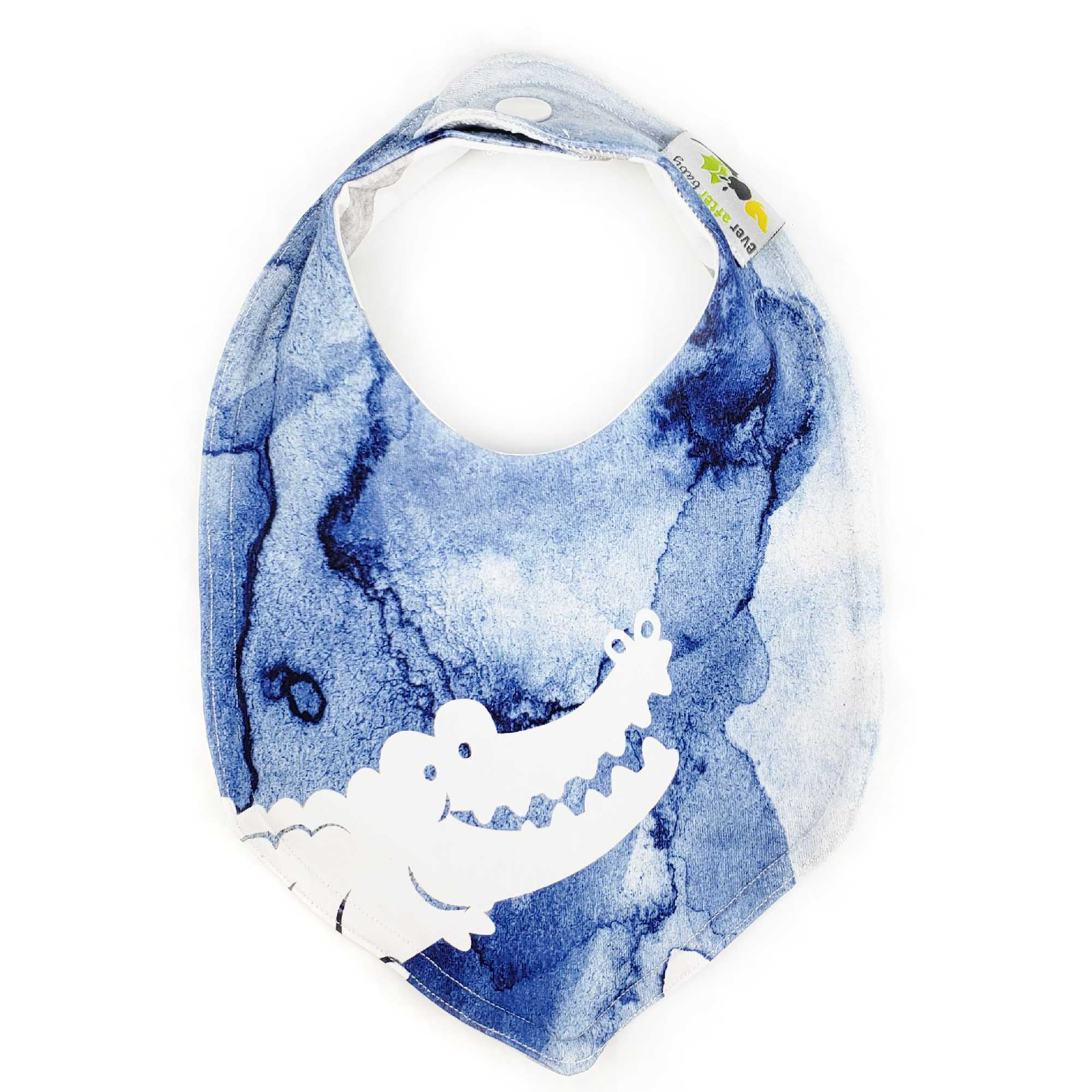 Foodie Bib in Peter Pan Inspired Crocodile - BRIGHT blue green