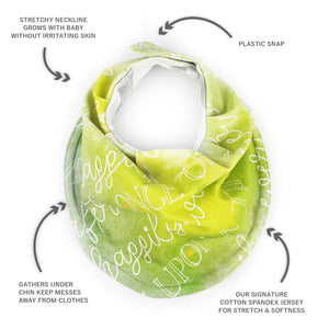 Drooly Bib in BRIGHT Green Signature