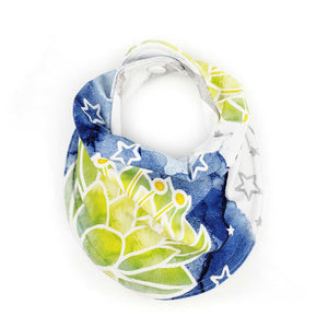 Drooly Bib in Frog Princess Inspired Waterlily - BRIGHT Blue Green