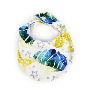 Drooly Bib in Little Mermaid Inspired Shell/Starfish - EXPLORING ocean blue
