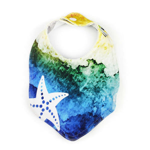 Foodie Bib in Little Mermaid Inspired Starfish - EXPLORING ocean blue