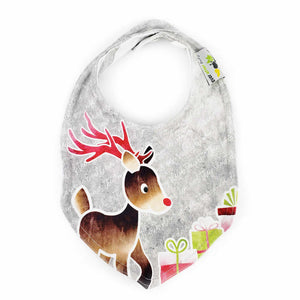 Foodie Bib in Rudolph the Red-nosed Reindeer - HOLIDAY red and gray