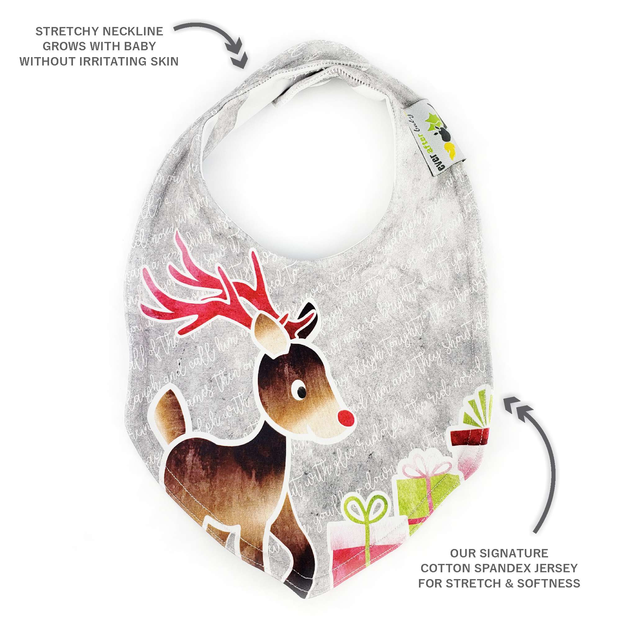 Foodie Bib in Rudolph the Red-nosed Reindeer - HOLIDAY red and gray2