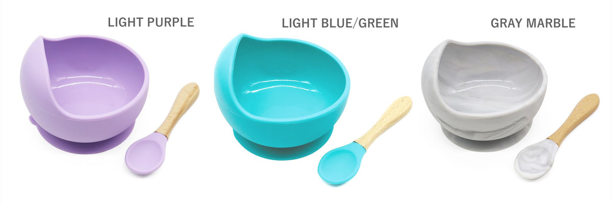Magic Stay-put Silicone Baby Bowl & Spoon Set in Brilliant Gray