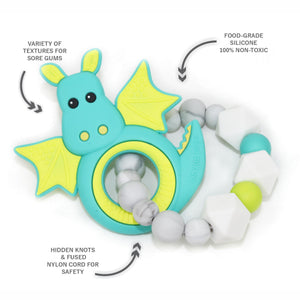 Dragon Teething Ring - Teal