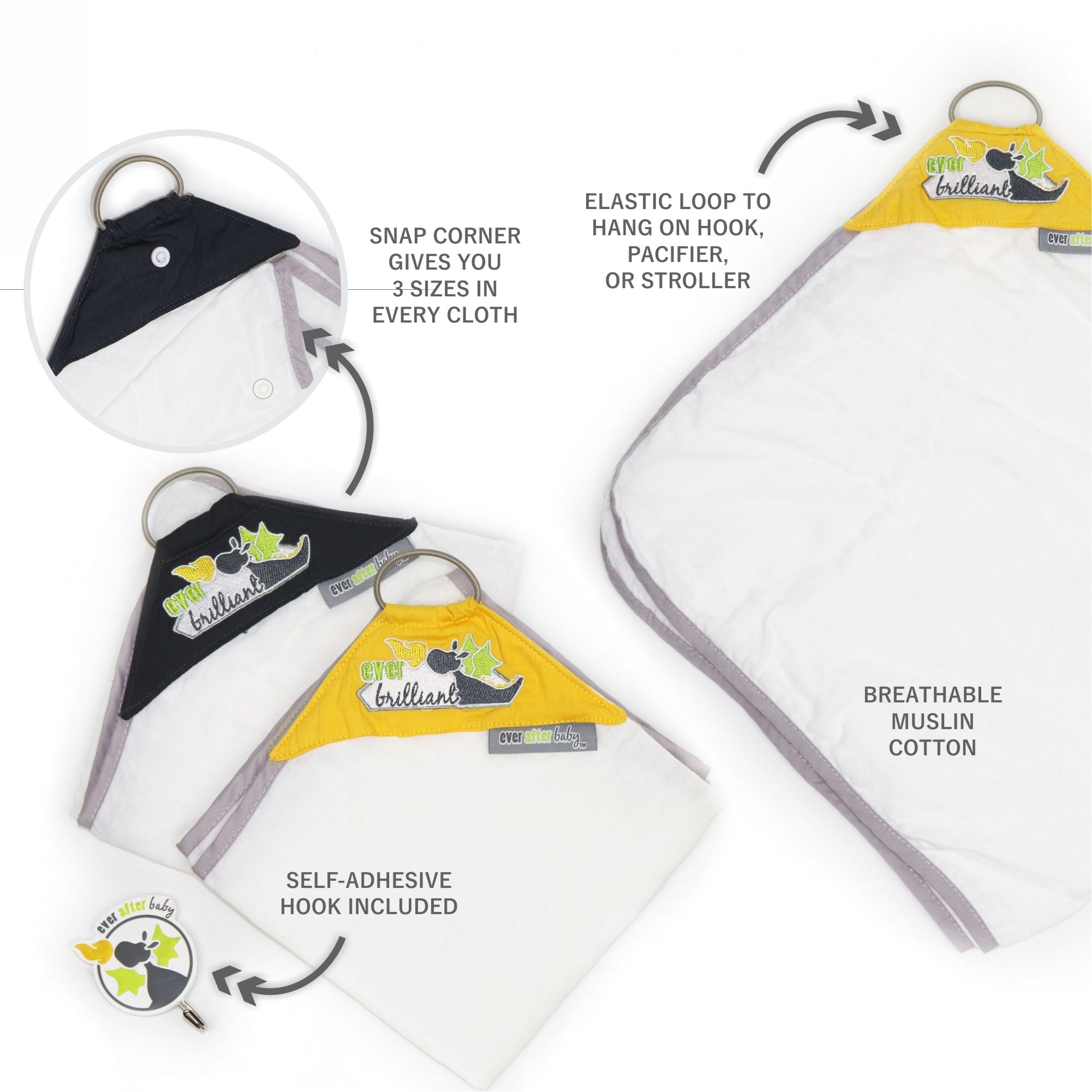 Dribble Shield™ Burp Cloths in Brilliant