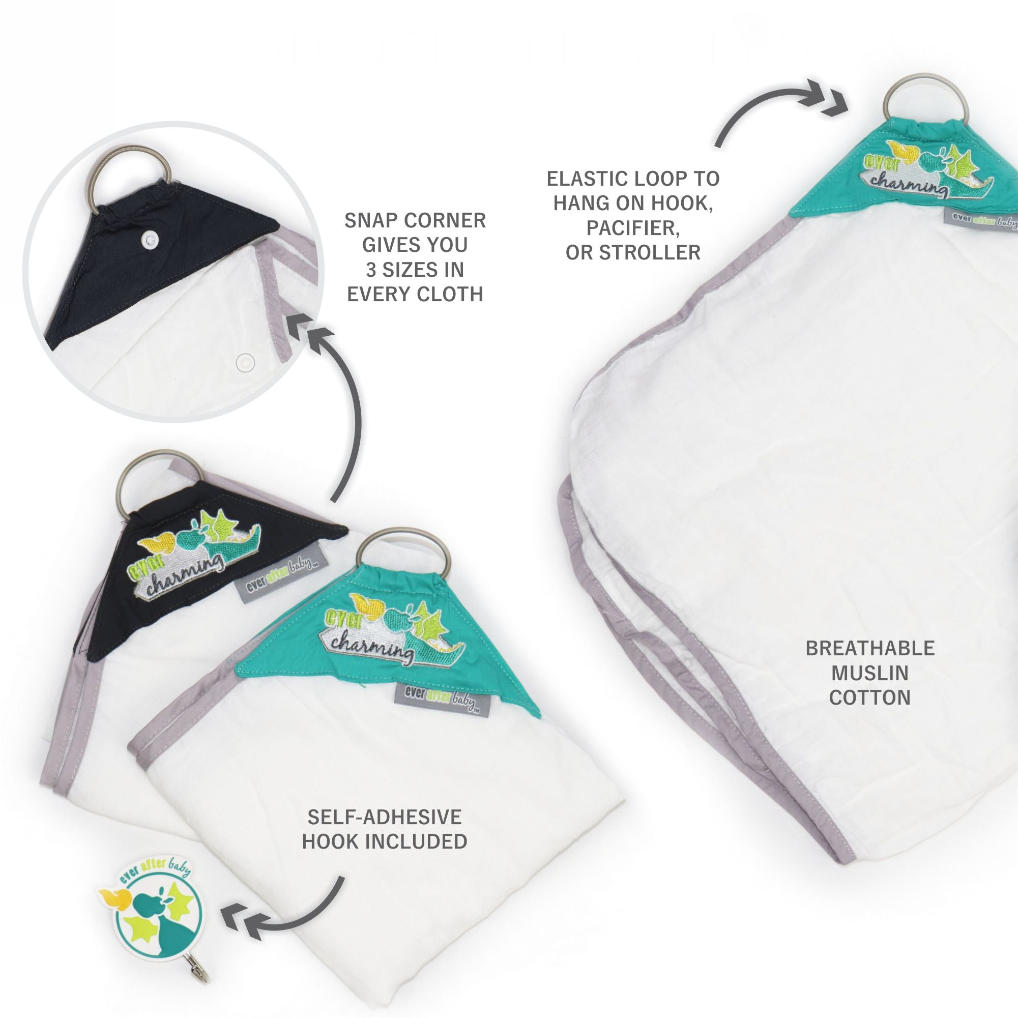 Dribble Shield™ Burp Cloths 4-pack Gift Set in Charming