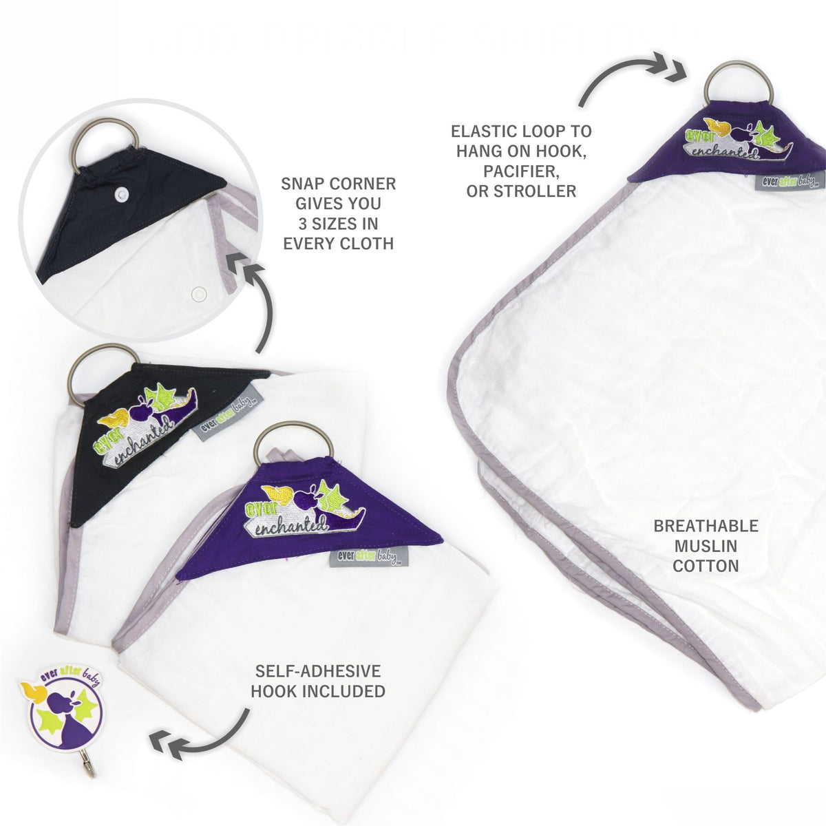 Dribble Shield Burp Cloths in Enchanted (3890065211426)