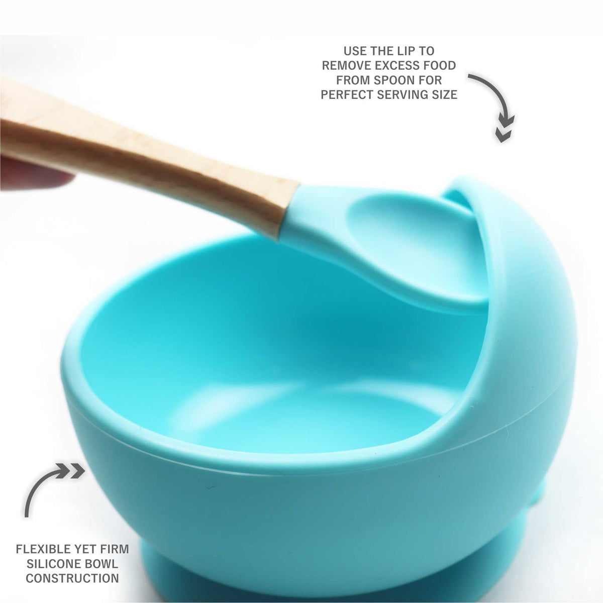 Magic Stay-put Silicone Baby Bowl & Spoon Set in Charming Teal