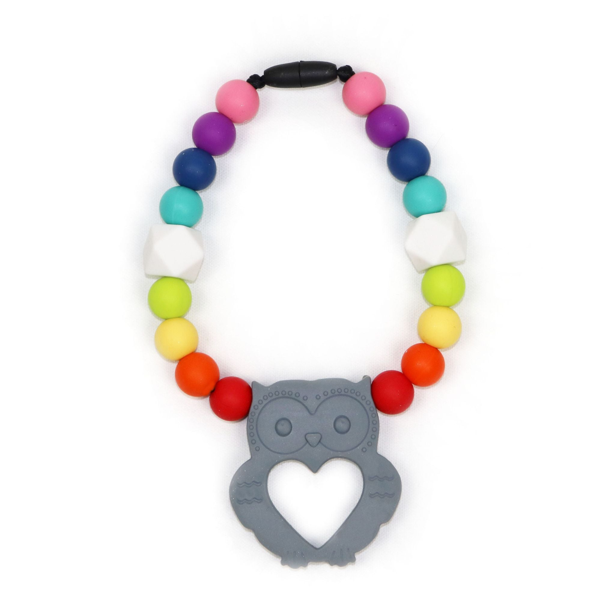 Owl Clip-on Teether in Brilliant Gray