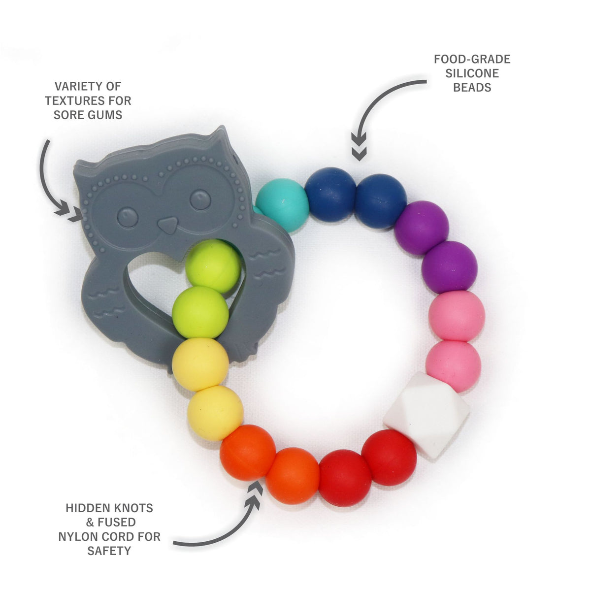 Owl Teething Ring in Brilliant Gray (3888414097442)