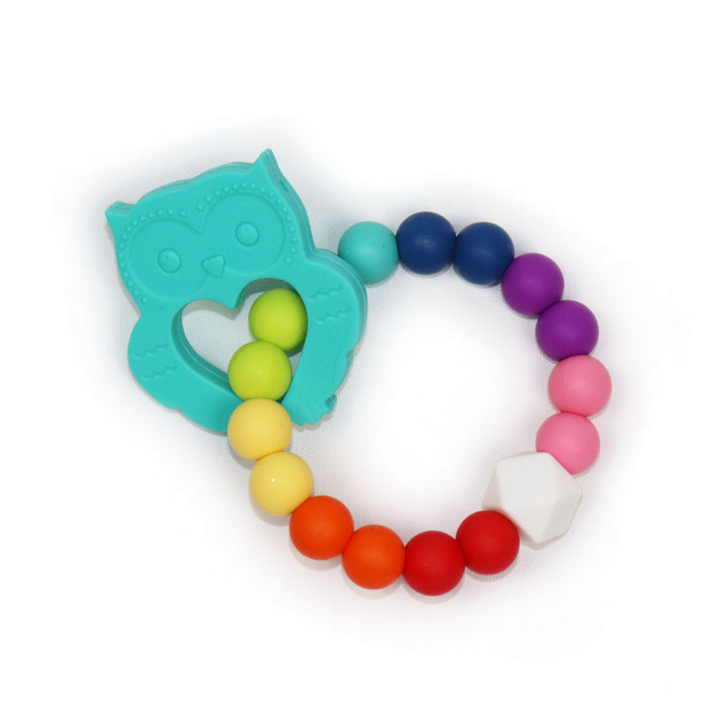 Owl Teething Ring in Charming Teal (3888411738146)