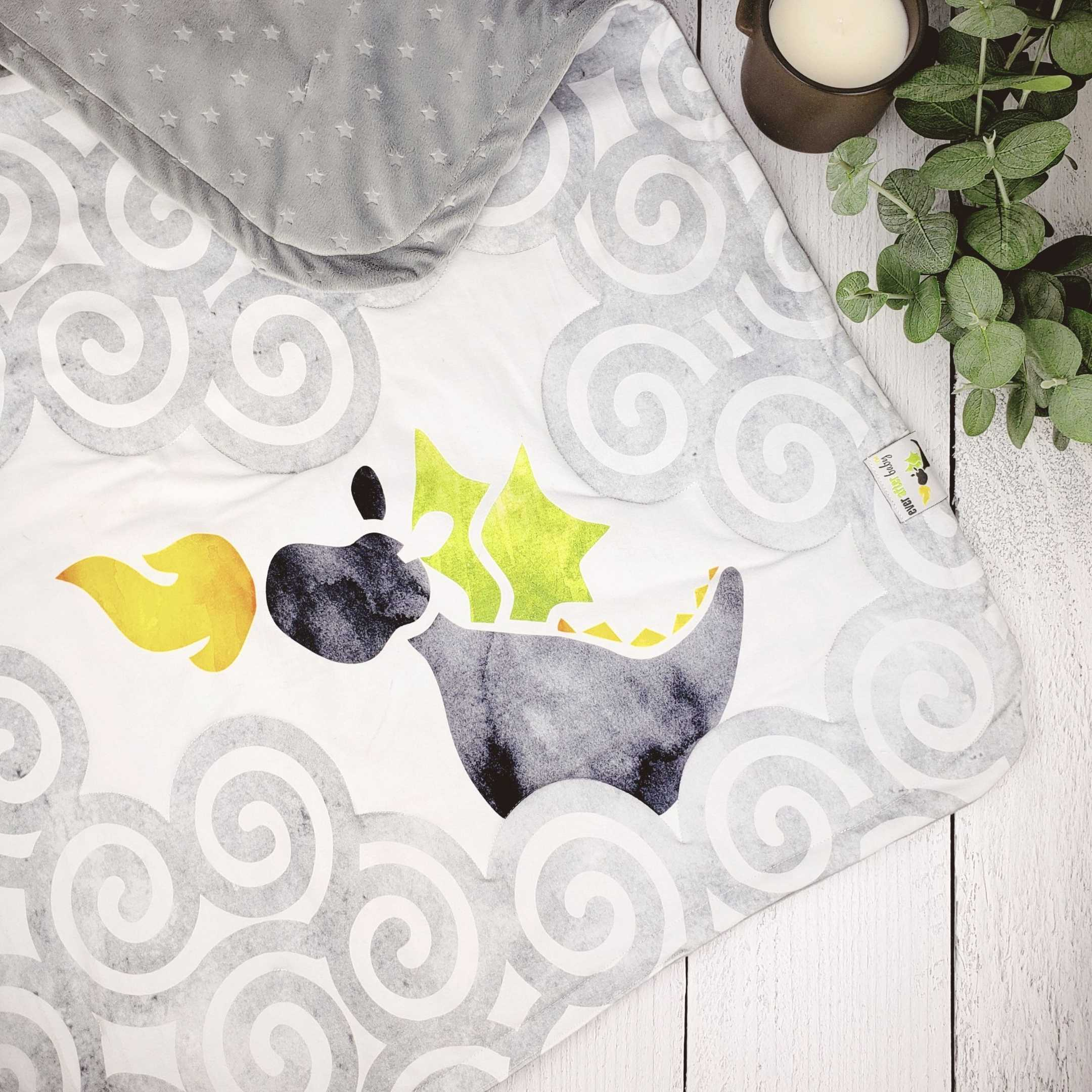 Stroller Blanket in Brilliant Gray Dragon