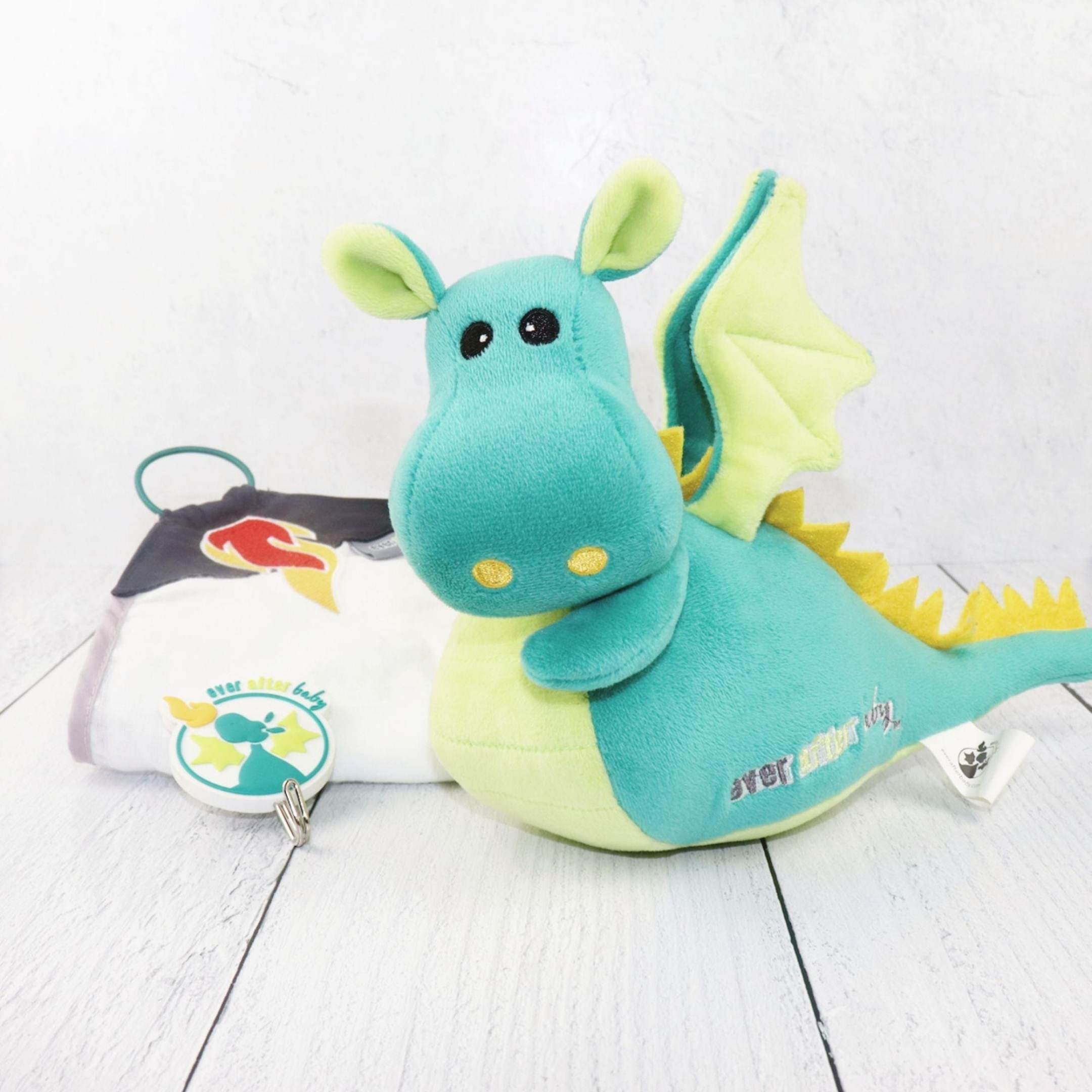 Dragon Squire Travel Toy + Burp Cloth (Teal)