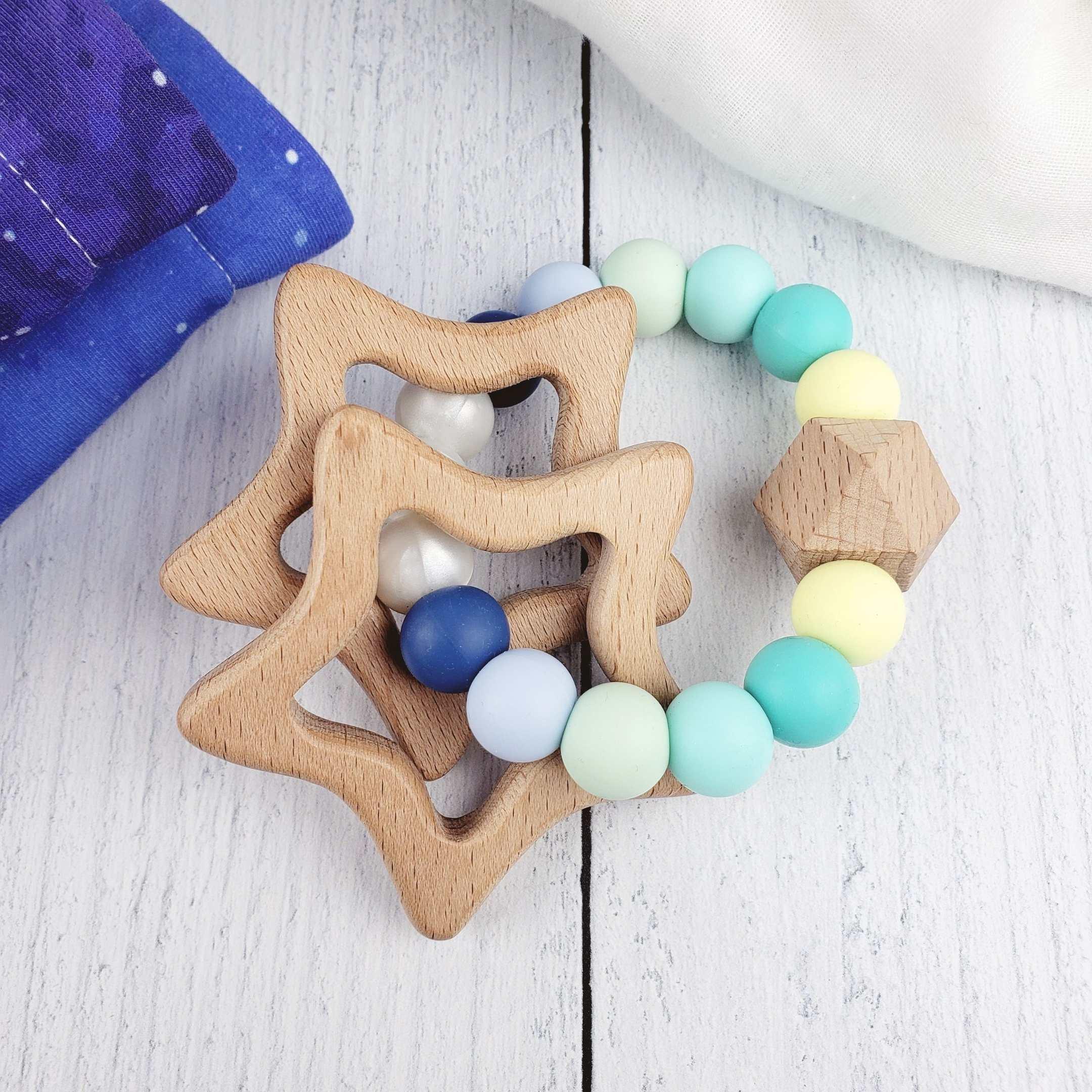 Star Rattle Teething Ring - Teal Blue