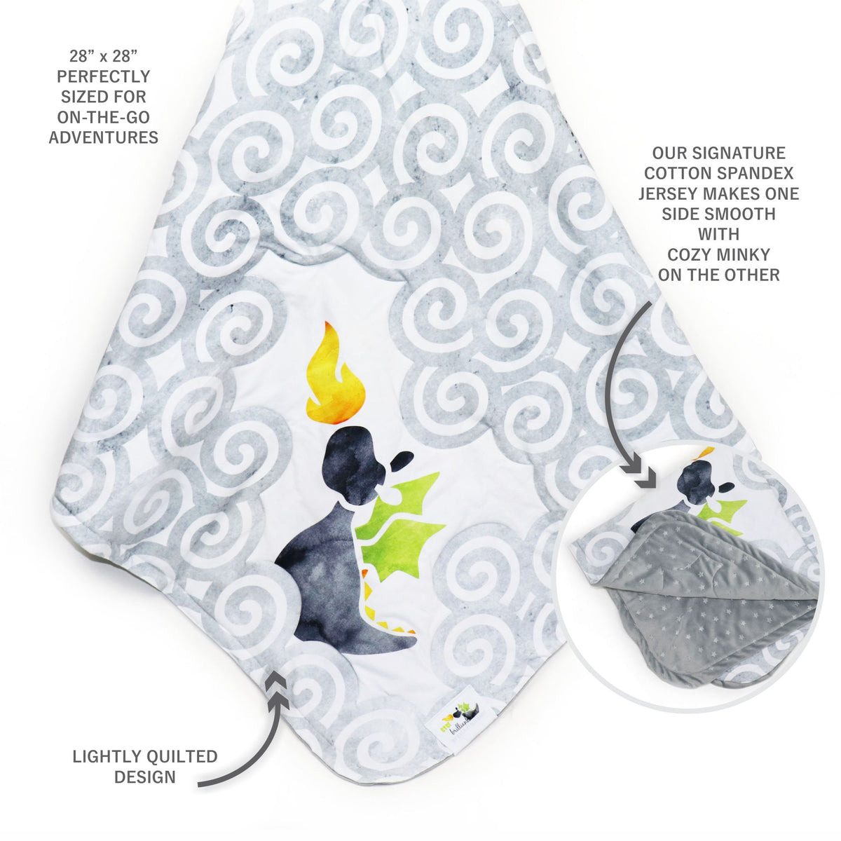 Stroller Blanket in Brilliant Gray Dragon (3887981821986)