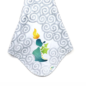 Stroller Blanket in Charming Teal Dragon