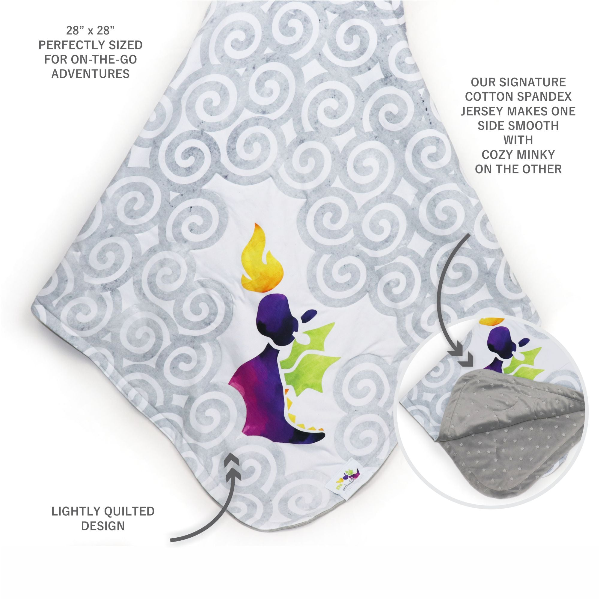 Stroller Blanket in Enchanted Purple Dragon