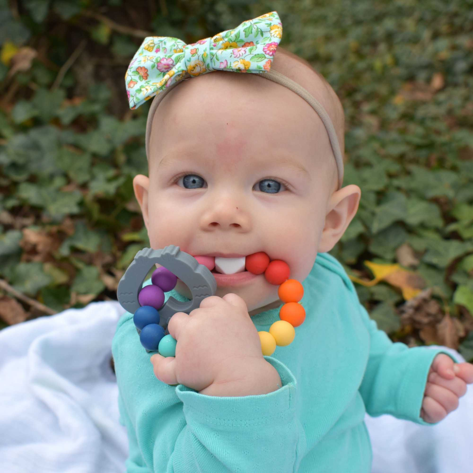 Owl Teething Ring in Charming Teal