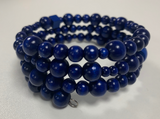 Wooden Bead Bracelet Blue 4mm - 8mm Beads Handmade