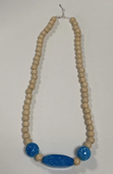 Wooden Bead Necklace Aqua Blue Speckle Handmade