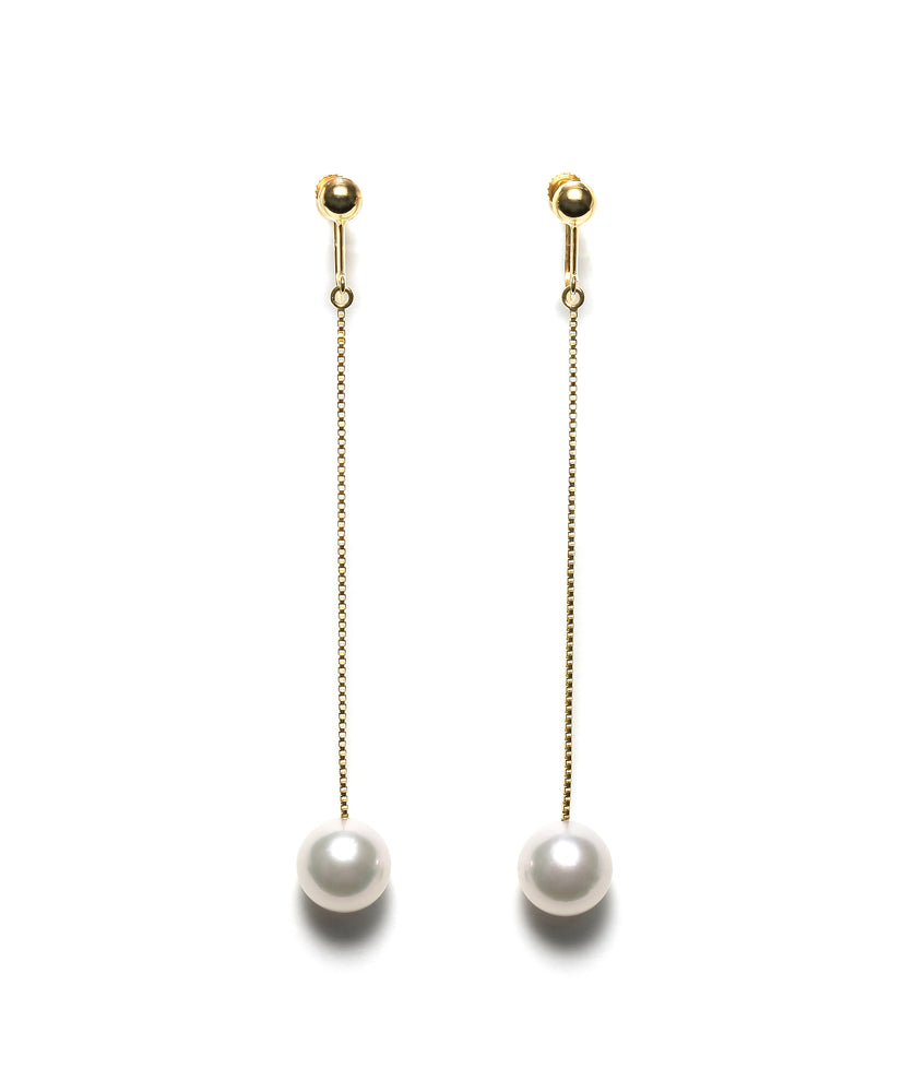K14YG Atonal Akoya Pearl Shoulder Duster Earrings --Perlagione Eshop