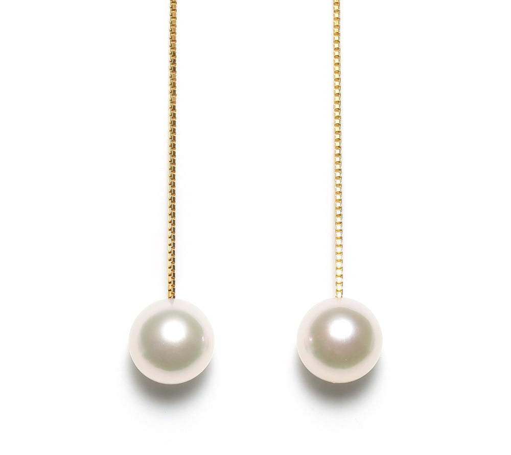 K14YG Atonal Akoya Pearl Shoulder Daster Earrings - Perlagione Eshop