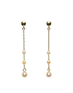 K14YG Atonal Akoya Baby Pearl Station Drop Earrings - Perlagione Eshop