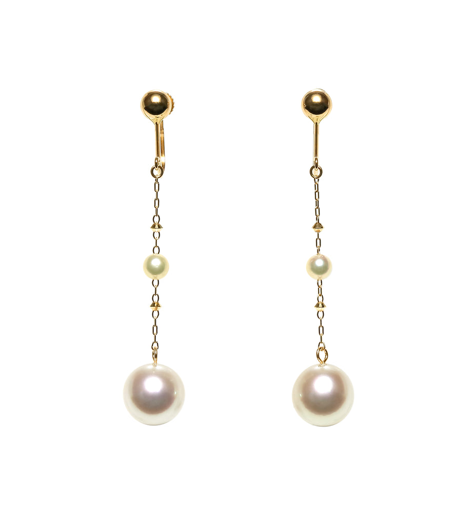 K14YG Atonal Baroque Akoya Pearl Earrings - Perlagione Eshop