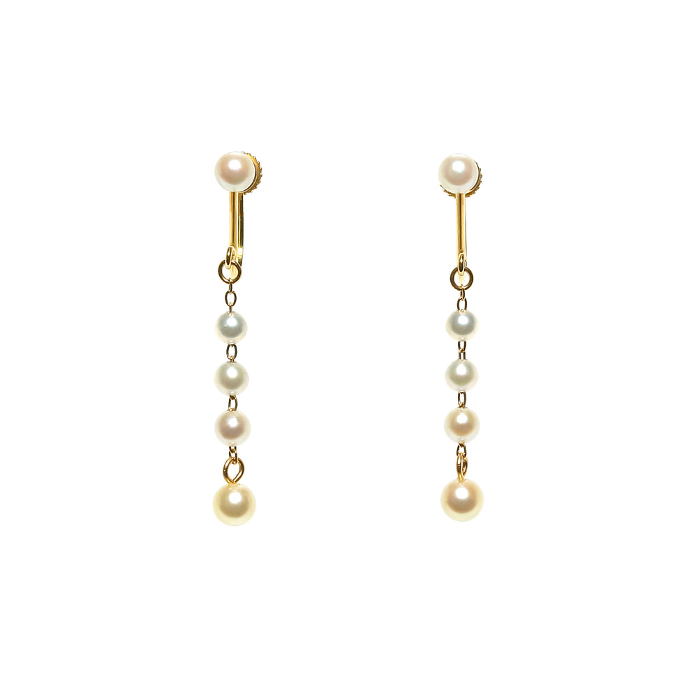 K18YG Atonal Akoya Baby Pearl Gradient Earrings --Perlagione Eshop