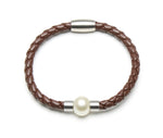 Stainless White Butterfly Pearl and Leather Bracelet (Brown) - Perlagione Eshop
