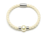 Stainless White Butterfly Pearl & Leather Bracelet (Beige) --Peragione Eshop