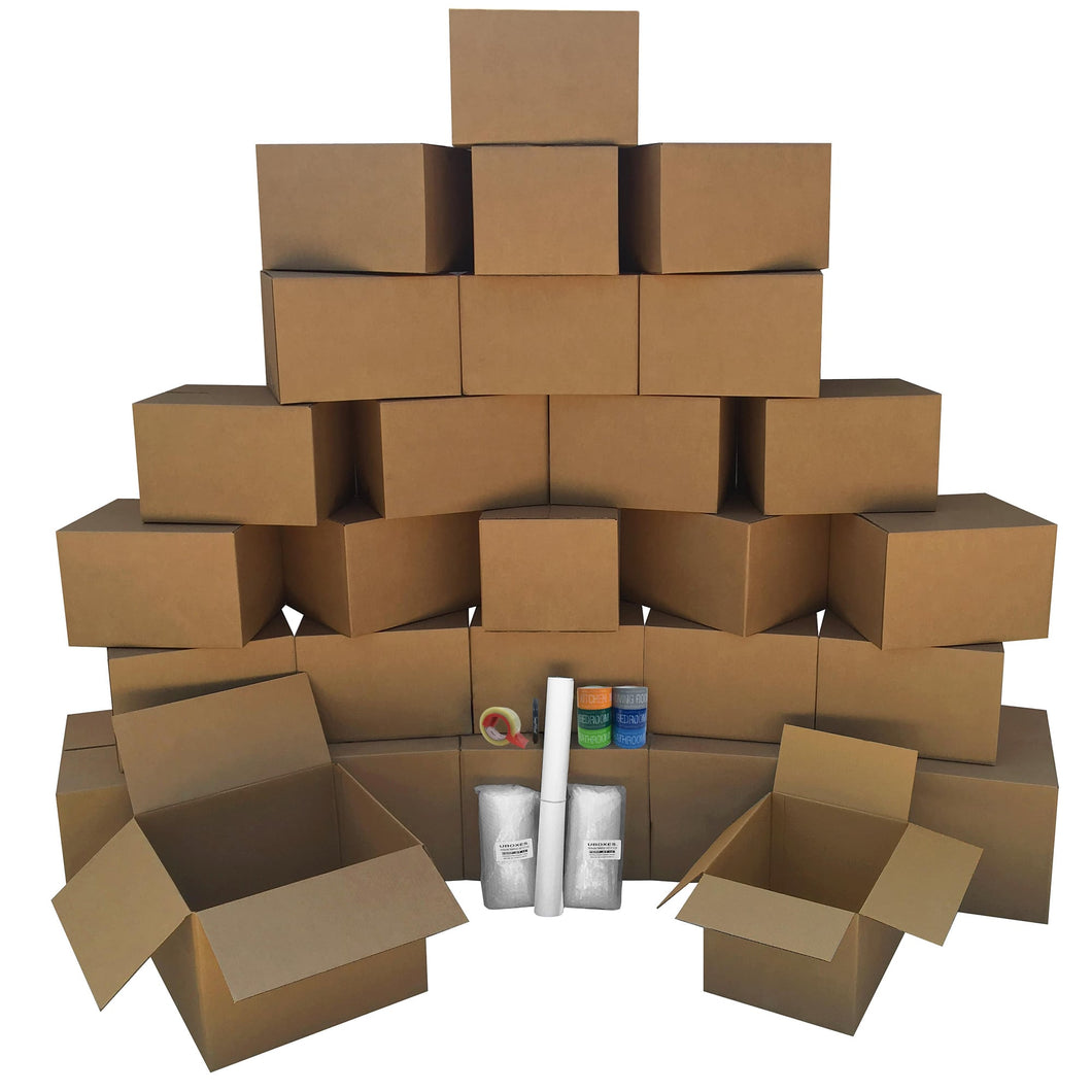 Moving Boxes - 2 Room Bigger Smart Moving Kit - 28 Boxes ,Tape, & more