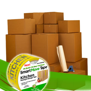 8 Room Kit 100 Bigger Smart Moving Boxes, Tape, Bubble Roll & More