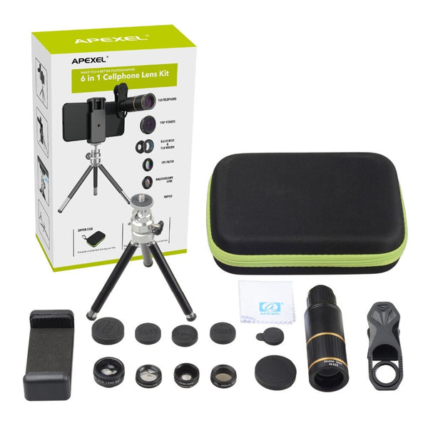 6 in 1 photography kit : Telescope x16 and lenses