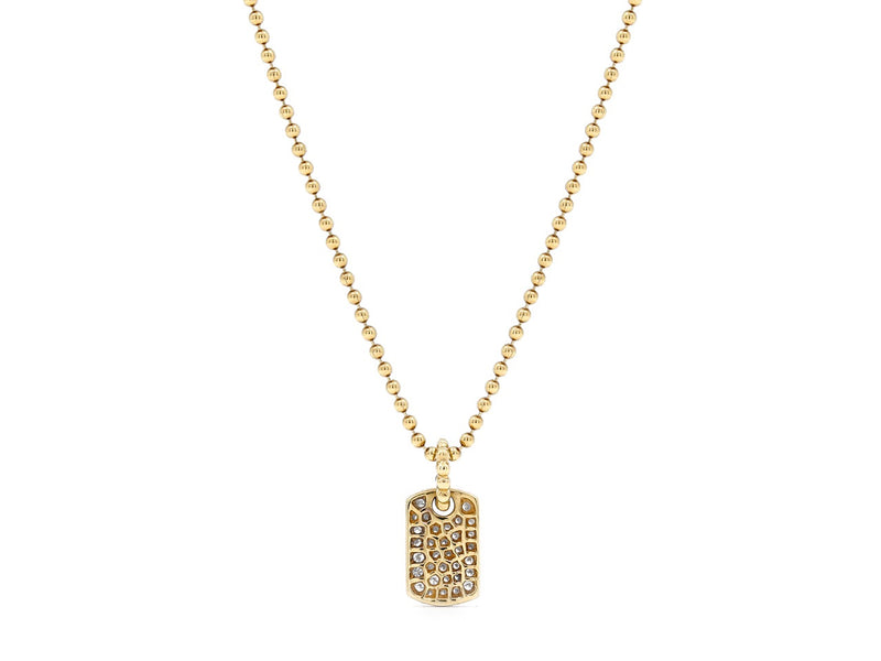 Pavé Set Diamond Dog Tag Pendant Necklace